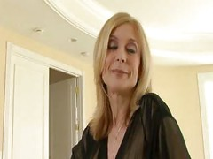 Blonde milf in black