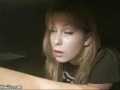 Two hot blondes fuck this guyin the office - milf ass<br>