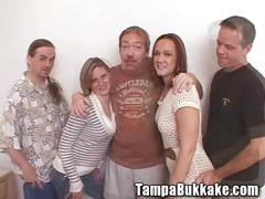 Two sluts having a tampa bukkake mini orgy<br>