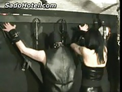 Slave in leather gets ass and