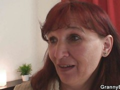 Redhead mature lady doing
