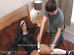 Nun is tied and forced to