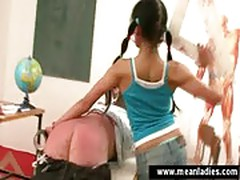 Two girls spaking the teacher