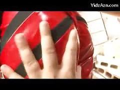 Girl In Latex Superhero Dress Getting Her Tits Body Rubbed With Vibrator<br>