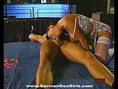 Bukkake brunette drools and gargles cum at bizarre orgy