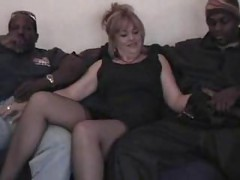 Chubby Slut Wife Gets Gangbanged by 4 Big Black Cocks<br>