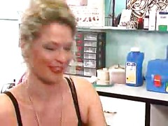 Bitch Dildos Her Ass At Piercing Parlor<br>