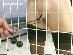 Naughty girl in a jail got
