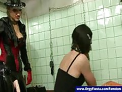 Mistress fucks pathetic sissy guy up his ass