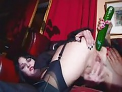 Filthy british slut Donna Marie in goth fetish 3some wth Jan