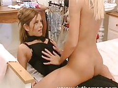 Lesbian work friends make out