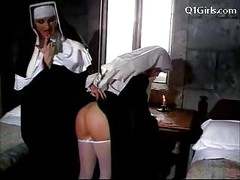 Abbess In Sexy Lingerie Spanking Nun Getting Her Pussy Licked Licking On The Bed<br>