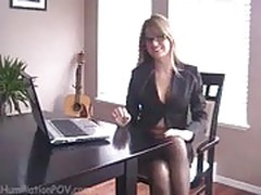 Secretary in pantyhose tease