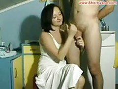 Hot tight MILF giving a teasing handjob