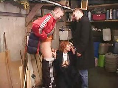 Russian gang boys sucked by elder slut<br>
