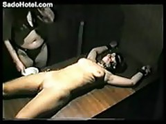 Tied up amateur slave girl gets pierced by mistress