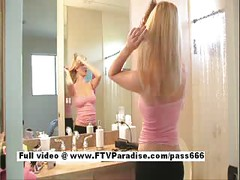 Teen blonde at the shower<br>