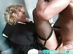Horny nun  fucks homeless guy