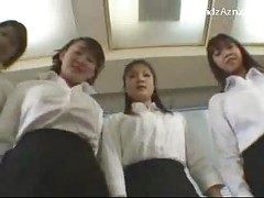 5 Girls In White Shirt Black Skirt Giving Handjob Footjob For A Guy On The Floor<br>