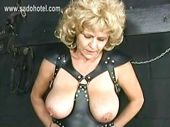 Old slave with big tits and
