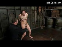 Bondaged Girl Nipples Weights Throated Pussy Fingered In The Dungeon<br>