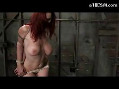 Busty Tattooed Redhead Getting Her Arms Tied Tits Rubbed And Whipped Pussy Stimulated With Vibrator In The Dungeon<br>