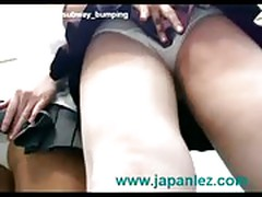 Schoolgirl japan subway upskirt panties scissoring