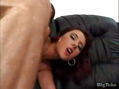 brunette gets anal and a messy facial on a couch<br>