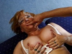 Granny in Glasses Loves Cock