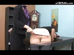 Brunette Girl Getting Her Ass Spanked With Paddle To Red By The Director To Avoid Police In The Office<br>