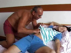 Old man licks nipples, pussy