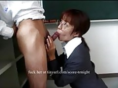 Asian teacher gets cum in mouth