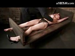 Busty Tattooed Girl Tied Legs And Arms Tits Tortured With Clips And Rubber Bands Whipped Pussy Stimulated With Vibrator In The Dungeon<br>