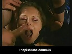 Messy bukkake on hot blonde with cumcovered face