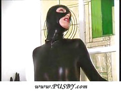 Blonde Pornstar extreme dildo in spandex<br>