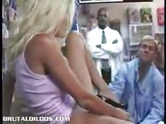 Blonde using huge monster dildo<br>
