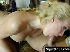 Horny blonde loves oral sex