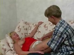 SLEEPING MATURE MOM Fucked By Teen ( amateur mother milf granny blonde cumshot blowjob couch )<br>