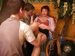 Mature women and guys fucks in cafe<br>