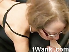 Horny housewife with glasses fisting and fucking