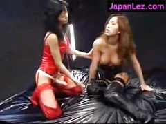Latex Rubber Lesbian Strapon Fucking<br>