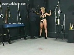 Tied slave with big boobs got