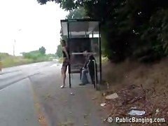 Public group sex on bus stop<br>