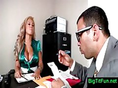 Female boss with huge tits in