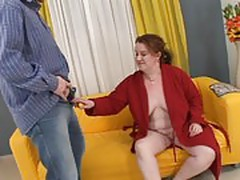 Naughty fat mature sucks a young cock and gets fucked
