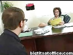 Mature mom fucks computer repairman in her office