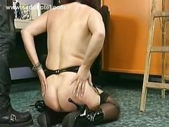 Masked milf slave crawling