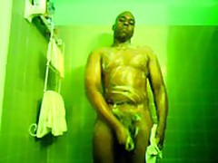 dude taking a shower