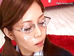 Girl With Glasses On Her Knees Sucking Cock Getting Many Facials On The Carpet<br>