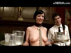 Slave Girl In Stockings Nipples Clips Holding Plates Getting Dong To Pussy Spanked In Front Of Rich People In The Saloon<br>
